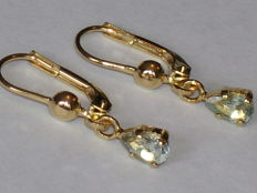 14 kt yellow gold dangle earrings with aquamarines – 0.80 ct