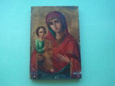 19th century ortodox russian icon virgin Mary of pravoruchnisa  hand painted