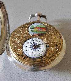 28. Silver verge watch - pomp dial - Switzerland 1790