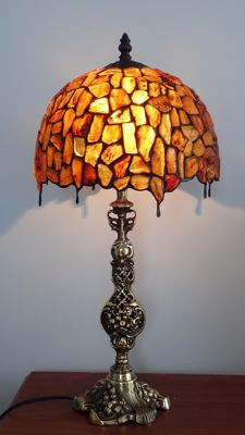Amber Hand made lamp with insect and inclusions