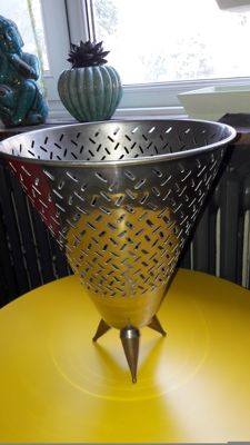 Silver fruit basket with brass feet