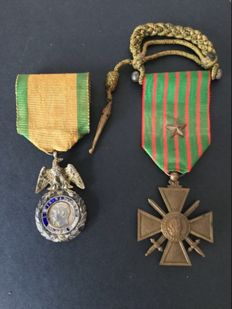 Napoleon III Military medals and War Cross from 1914-1917.