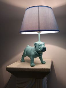 Table lamp / bedside lamp - Bulldog in blue