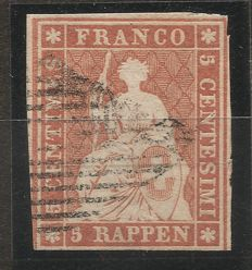 Switzerland 1854 - Strubel of the 1st Printing period of Munich - Michel no. 13la, SBK no. 22Aa