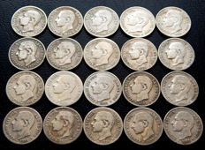 Spain – Alfonso XIII – Lot of 20 coins of 50 centimes from 1880 (10) and 1881 (10)
