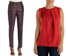 Michael Kors set -  Silk trousers and red top