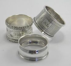 Collection of 3 silver serviette napkin rings, 19th & 20th century