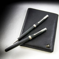Parker Sonnet Matte Black & Silver Ballpoint and Fountain Pen Set with a Parker Leather Billfold Wallet