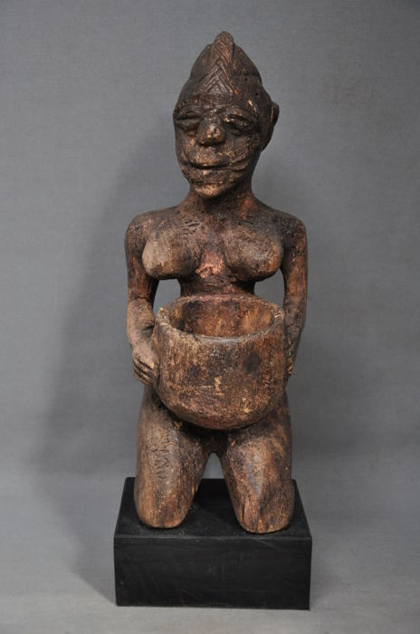 Old tribal used libation statuette with bowl -YORUBA - Nigeria