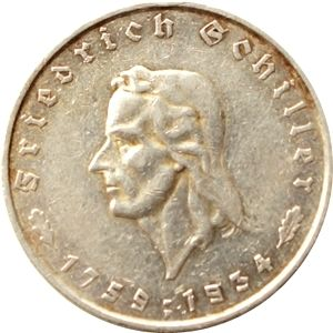 Third Reich - 5 Reichsmark 1934 F 175. Birthday of Friedrich Schiller - silver