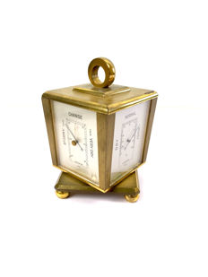 Cube baro/hygro/thermometer in heavy brass - rotates around its axis - around 1980 - high-quality Swiss mechanism