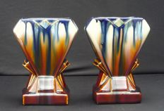 Faïenceries de Thulin - Two Art Deco vases with dripping glaze