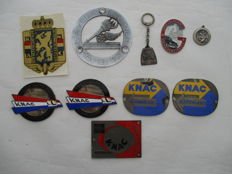 Lot of 10 Automobilia - Automobile Rally plaques, radiator emblems, key chains, transfers