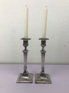 Two silver plated candle stands - Topazio - Portugal - Second half 20th century