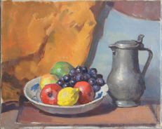 Studio Henk van Leeuwen (1890-1972) - . Still life fruit bowl with Tin jug