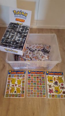 Pokemon Stickers SERIES 1, containing around 1150 packs, 1 booster box and 36 laser sticker sheets