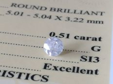 Diamond – 0.51 ct - G/SI3 - EXC/EXC/EXC ** No Reserve **