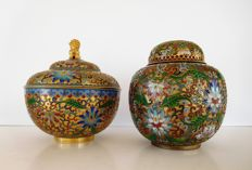 Two Chinese champleve style ginger jars - China - second half 20th century