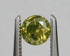 0.52 ct GIA Fancy INTENSE GREEN YELLOW Diamond