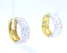 18 kt bicolour earrings set with 62 brilliant cut diamonds, 1.24 ct in total H/J Si1/P1