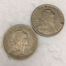 Portuguese Republic — 'Lindo Par' (Nice Couple) of 1 escudo coins — 1962 and 1965