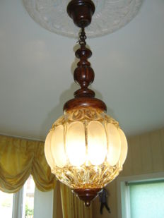 Special 1940s/1950s antique lamp Venetian pressed glass, with wood, first half 20th century