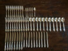 Silver plated cutlery, 54 pieces