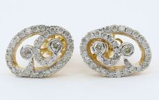 IGI Certified 14 kt Yellow Gold and Diamond 1,12 ct Earring studs in 14 kt hallmarked