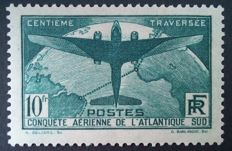 France 1936 - Crossing of the Atlantic, 10 f. deep green, signed Calves with digital certificate - Yvert no. 321.
