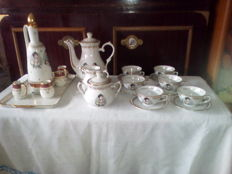 Cognac service with tray, Napoleon decoration and mocha service with 6 cups, Napoleon decoration