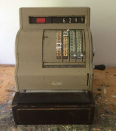 Original antique metal National cash register with key