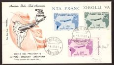 Republic of Italy, 1961, Gronchi Pink on envelope, FDC