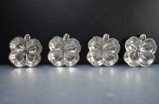 Set of 4 four leaf clover dishes, Lenox Silver Inc. NYC, Second half 20th century