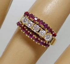 "Gold Cocktail ring with 0.35 ct Rubies and 0.35 ct. Diamonds VSI colour ""H""."