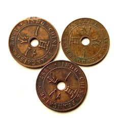 Indochina & Cochinchina - 1 Cent 1897, 1902, 1921 & 2 Sapeques 1879 (4 coins)