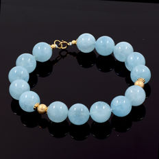 18kt/750 yellow gold aquamarine bracelet – Total length 23 cm. = 19 cm. useful length (inside circumference size)