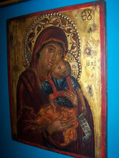 "Large Russian icon ""The Mother of God's Eleousa ""of second half 18th century"