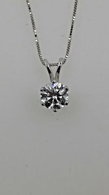 1.02 ct D/SI1 round diamond pendant in 14 kt white gold - 42cm
