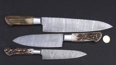 Set of three handcrafted damask knives - handle made from stag's antlers