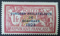 France 1923 – Philatelic Congress of Bordeaux, signed Calves with digital certificate – Yvert No. 182.