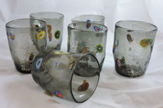 """Murano - set of 6 table grey """"Goti"""" with murrine and silver"""