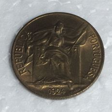 Portuguese Republic — 1 escudo — 1924 — Bronze-aluminium — MINT CONDITION