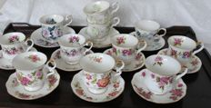 11 English porcelain cups and saucers - including 7 Royal Ascot