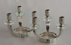 Pair of glass and silver candlesticks signed by the Broggi Brothers