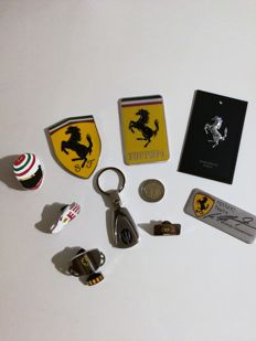 Ferrari, Maserati, Pin's, Limited Edition,2010 - Official Product,  Lot of 9 pieces (including a nameplate with signature silkscreened  Michael Schumacher)