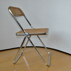 Giancarlo Piretto for Castelli Italy - rattan wooden / chrome folding chair - model PLIA