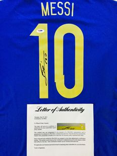 Messi #10 - Argentina - Signed Away Jersey -  with Certificate of Authenticity PSA/DNA