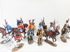 Cavalry of the Napoleonic Wars: Lot of 12 hand-painted figures on horseback - DelPrado - scale 1:30