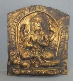 Copper repoussee Lokeshvara temple ornament - Nepal - 19th.century