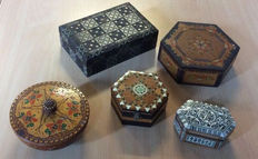Five beautiful wooden decorative boxes
